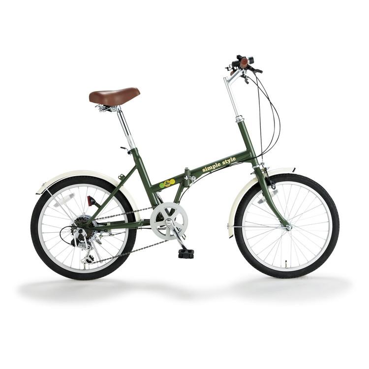 【KCD】20型折たたみ自転車 シンプルスタイル ライト付 グリーン
