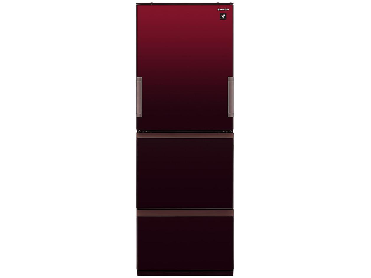【標準設置対応付】シャープ   プラズマクラスター冷蔵庫 (350L・どっちもドア) 3ドア Gレッド  SJ-GW35G-R