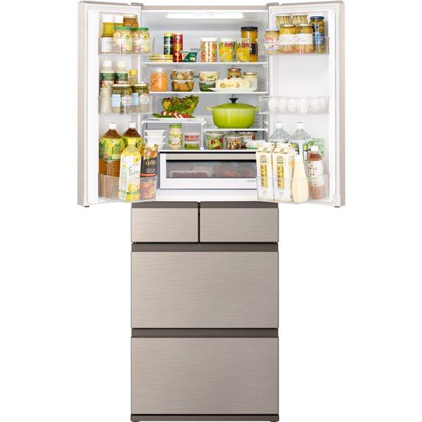 【標準設置対応付】日立 R-H48R N 冷蔵庫(475L・フレンチドア) 6ドア シャンパン