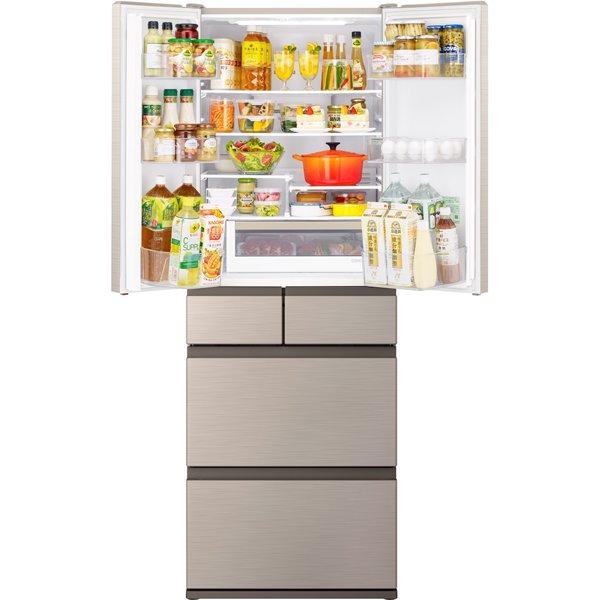 【標準設置対応付】日立 R-H54R N 冷蔵庫(537L・フレンチドア) 6ドア シャンパン