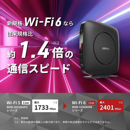【バッファロー】WSR-3200AX4S-BK  Wi-Fi 6 11ax対応 無線LANルーター AirStation
