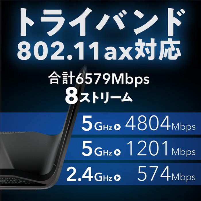 【ネットギアジャパン】RAX70-100JPS Nighthawk AX6600 トライバンド WiFi6 無線LANルーター