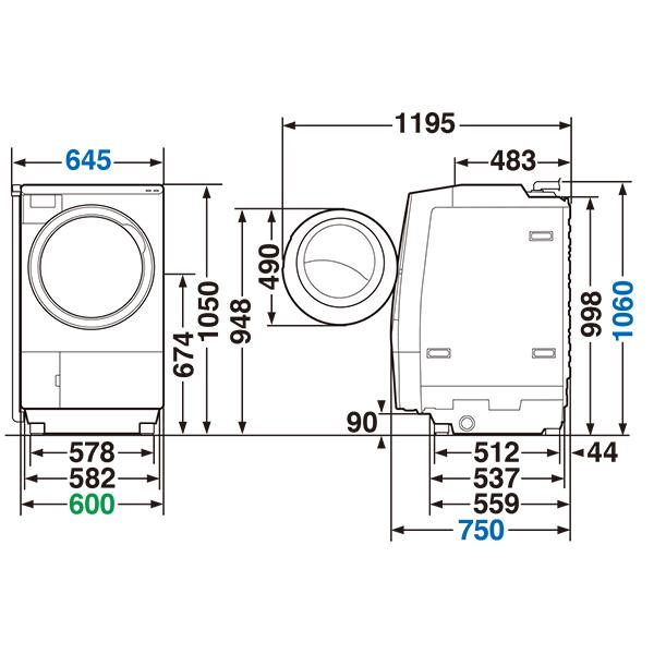 【標準設置対応付】東芝  TW-127XH1L-W ドラム式 ZABOON  洗濯12kg/乾燥7kg 左開き グランホワイト